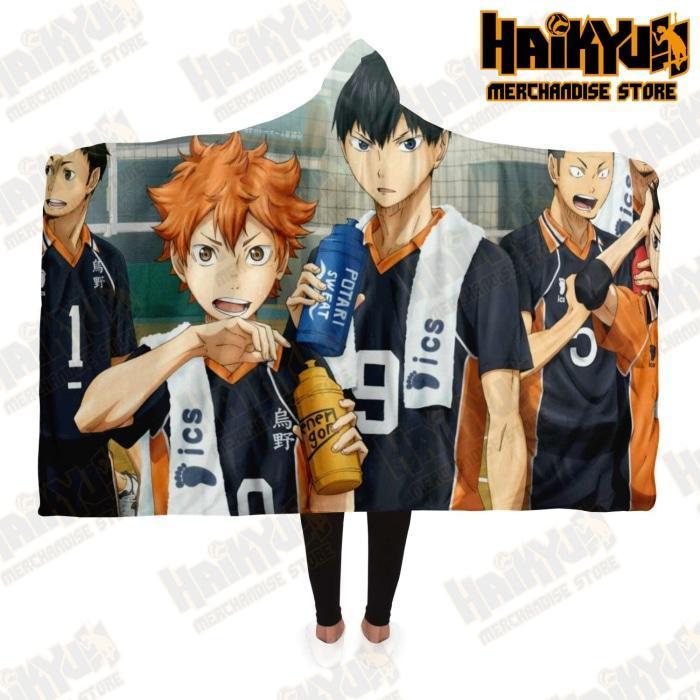 Haikyuu Karasuno Hooded Blanket New Design No.3 Adult / Premium Sherpa - Aop