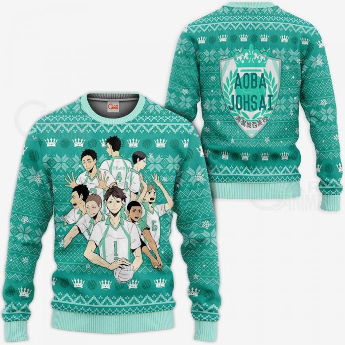 Aoba Johsai Ugly Christmas Sweater Haikyuu Anime Xmas Shirt VA10 Sweater / S Official Haikyuu Merch