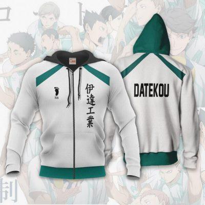 Date Tech High Haikyuu Anime Cosplay Costumes Volleyball Uniform Zip Hoodie / S Official Haikyuu Merch