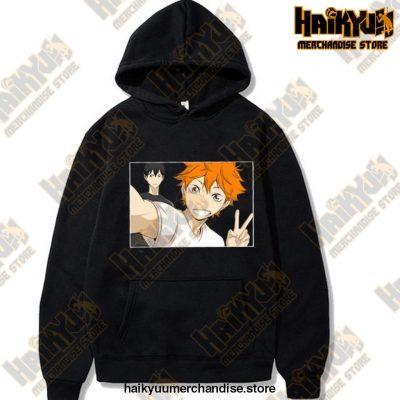 Funny Haikyuu Unisex Hoodies Japanese Anime Printed Mens Hoodie Streetwear Casual Sweatshirts Black