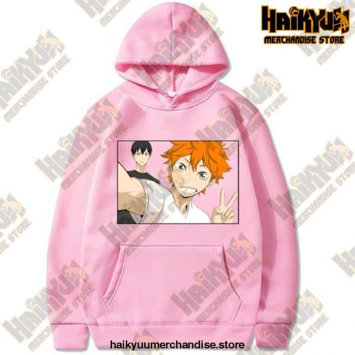 Funny Haikyuu Unisex Hoodies Japanese Anime Printed Mens Hoodie Streetwear Casual Sweatshirts Pink /