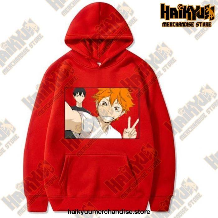 Funny Haikyuu Unisex Hoodies Japanese Anime Printed Mens Hoodie Streetwear Casual Sweatshirts Red /