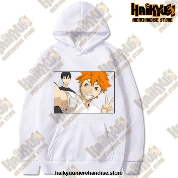 Funny Haikyuu Unisex Hoodies Japanese Anime Printed Mens Hoodie Streetwear Casual Sweatshirts White