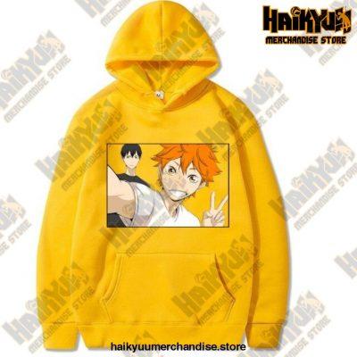 Funny Haikyuu Unisex Hoodies Japanese Anime Printed Mens Hoodie Streetwear Casual Sweatshirts Yellow
