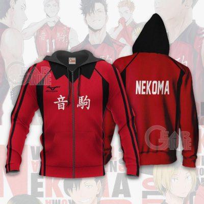 Haikyuu Nekoma High Shirt Costume Anime Hoodie Sweater Zip Hoodie / S Official Haikyuu Merch