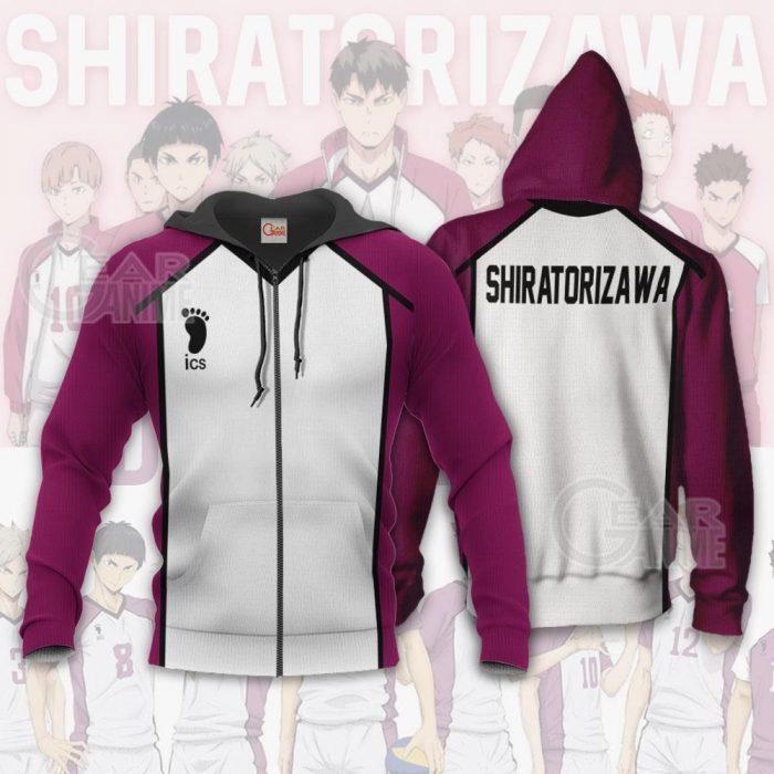 Haikyuu Shiratorizawa Academy Shirt Costume Anime Hoodie Sweater Zip Hoodie / S Official Haikyuu Merch