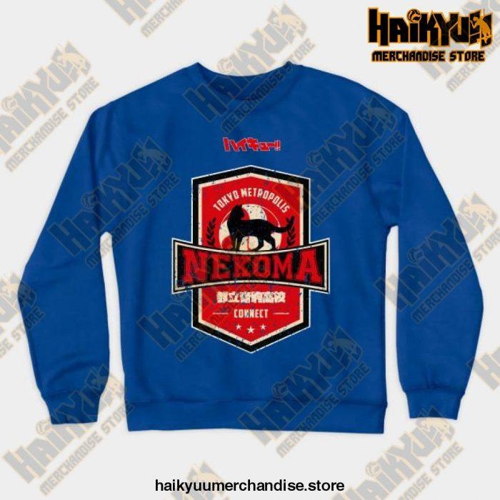 Haikyuu Team Nekoma Grunge Style Sweatshirt Blue / S