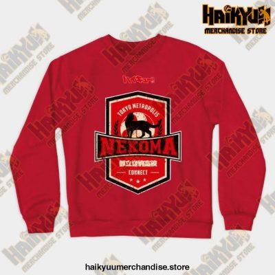 Haikyuu Team Nekoma Grunge Style Sweatshirt Red / S