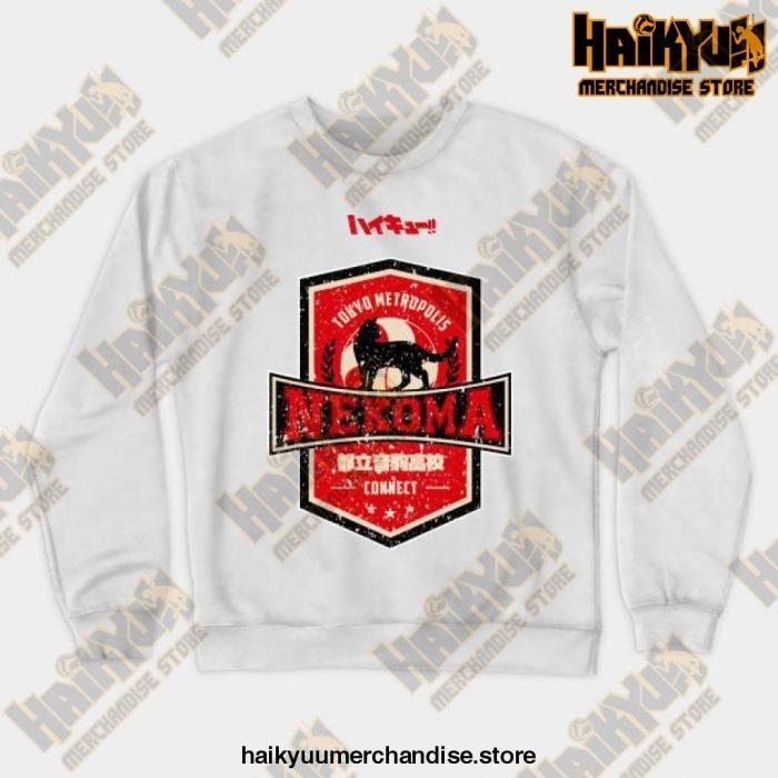 Haikyuu Team Nekoma Grunge Style Sweatshirt White / S