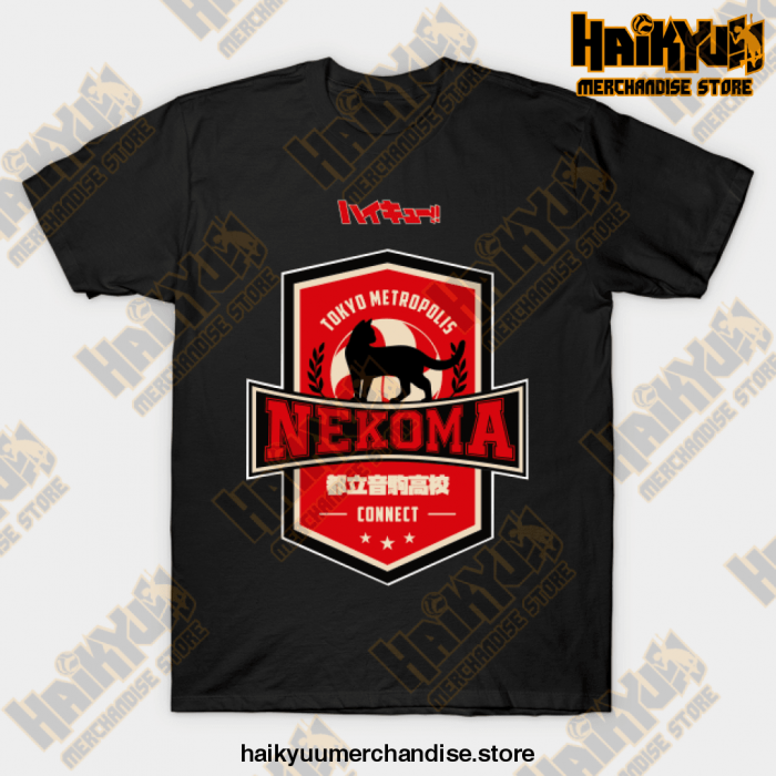 Haikyuu Team Nekoma T-Shirt Black / S