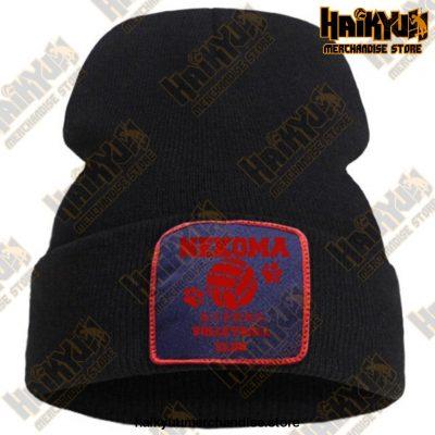 Haikyuu Volleyball Club Red Knitted Beanie Black / China One Size