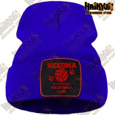 Haikyuu Volleyball Club Red Knitted Beanie Blue / China One Size