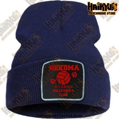 Haikyuu Volleyball Club Red Knitted Beanie Dark Blue / China One Size
