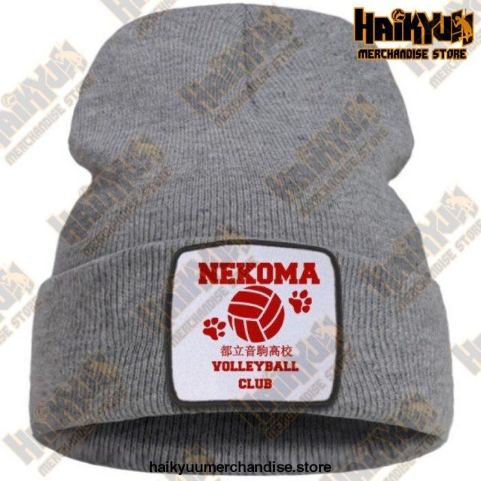 Haikyuu Volleyball Club Red Knitted Beanie Gray / China One Size