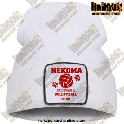 Haikyuu Volleyball Club Red Knitted Beanie White / China One Size