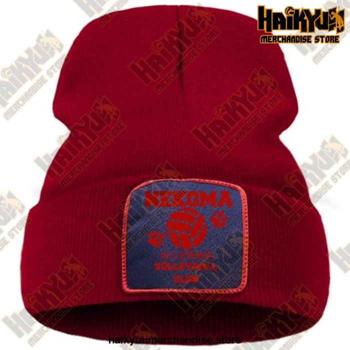 Haikyuu Volleyball Club Red Knitted Beanie Wine Red / China One Size