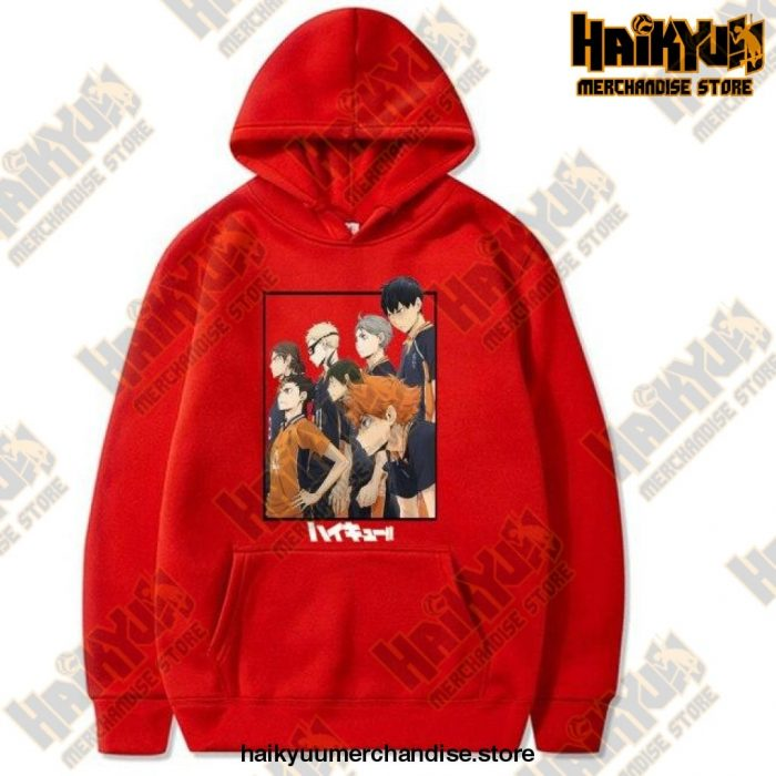 Harajuku Hoodie Sweatshirt Haikyuu Print Cosplay Costume Anime Women/men Top Red / Xxxl