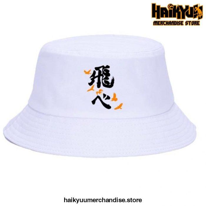 Japan Casual Haikyuu Bob Hats Black Logo - White