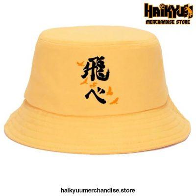 Japan Casual Haikyuu Bob Hats Black Logo - Yellow