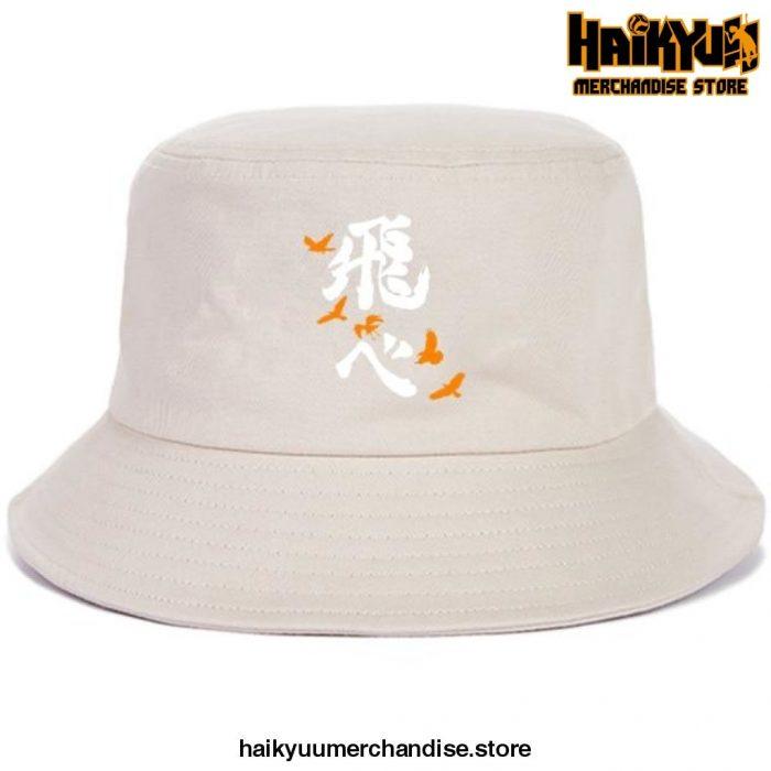 Japan Casual Haikyuu Bob Hats White Logo - Beige