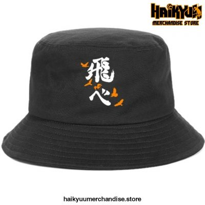 Japan Casual Haikyuu Bob Hats White Logo - Black