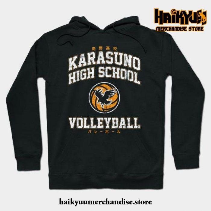 Karasuno High School Volleyball Hoodie Black / S