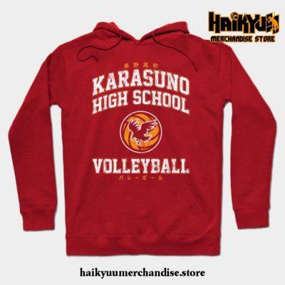 Karasuno High School Volleyball Hoodie Red / S